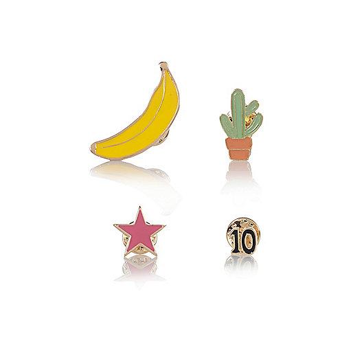 Yellow banana badge set