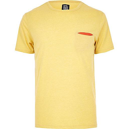 Yellow YMC contrast pocket T-shirt