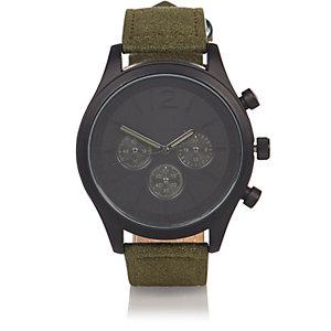 Kaki horloge met bandje van textiel