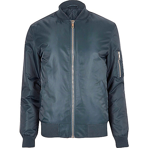 Blue padded MA1 bomber jacket