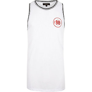 White number print mesh vest