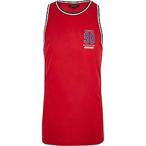 Red number print mesh vest