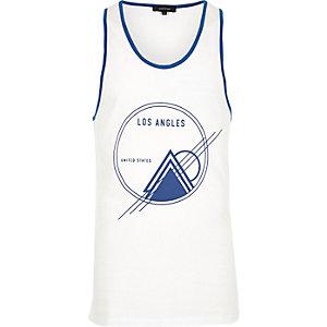 White sports print vest