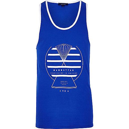 Blue sports print vest
