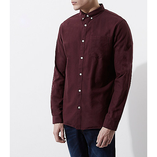 Burgundy casual button-down Oxford shirt