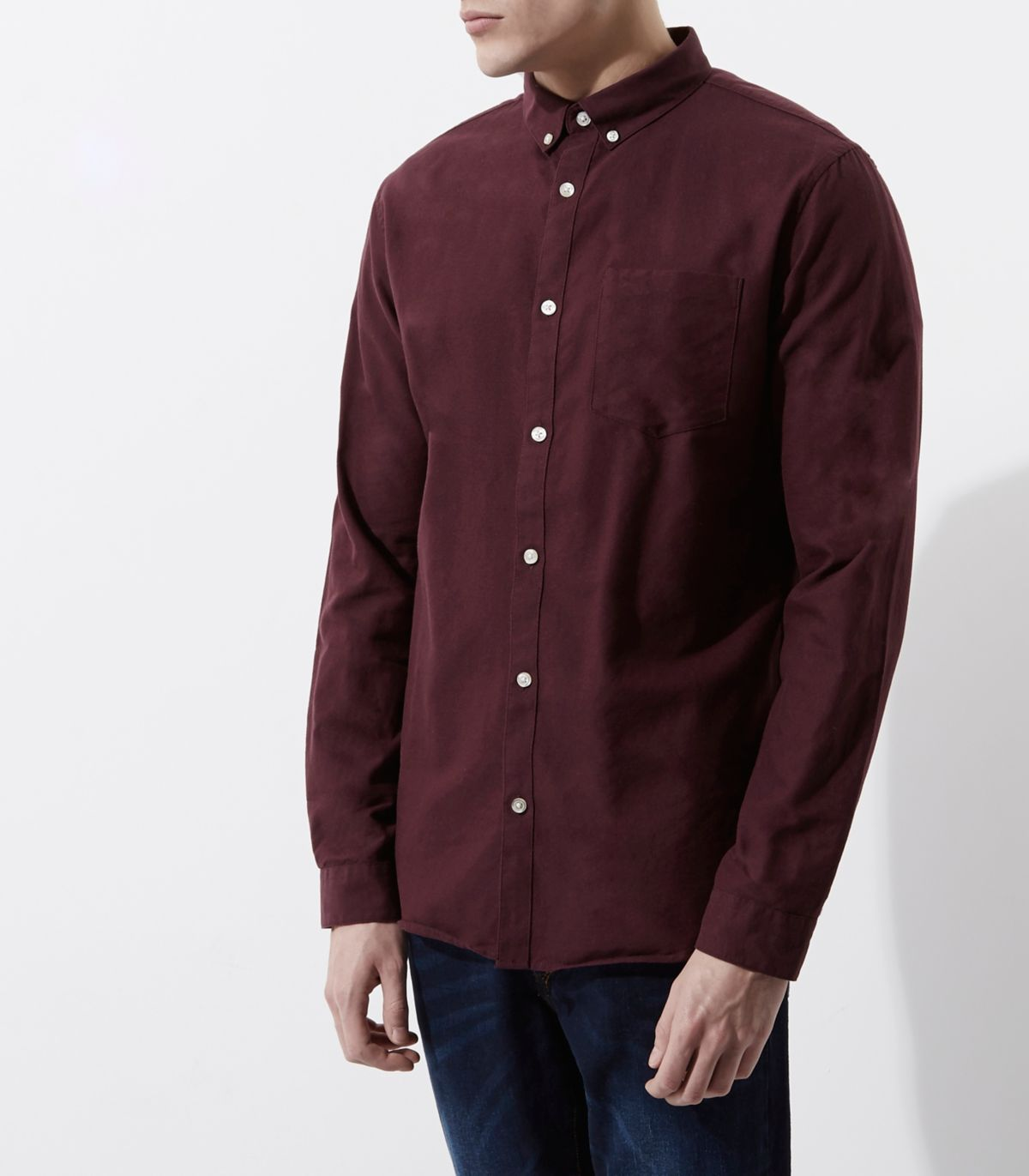 Burgundy casual button-down Oxford shirt