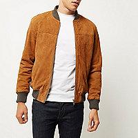 Tan premium suede bomber jacket