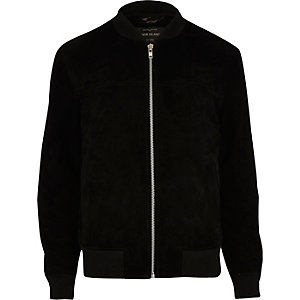 Black suede bomber jacket