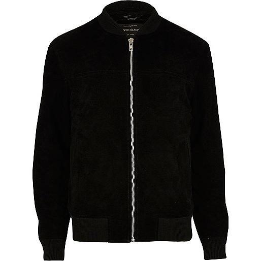 Black suede bomber jacket