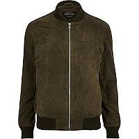 Khaki suede bomber jacket