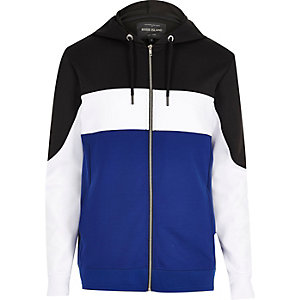 Blue colour block zip up hoodie