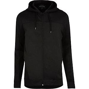 Zwarte hoodie met rits en paneel van mesh