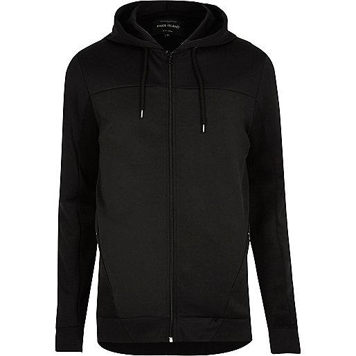 Sweat noir zippé avec empiècement en tulle à capuche