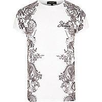 T-shirt blanc imprimé sur les côtés