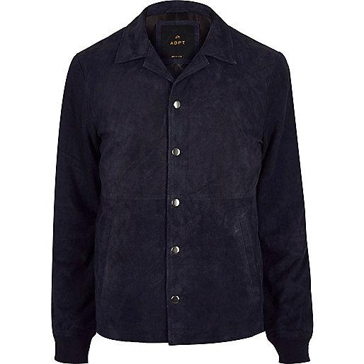 Navy ADPT suede jacket