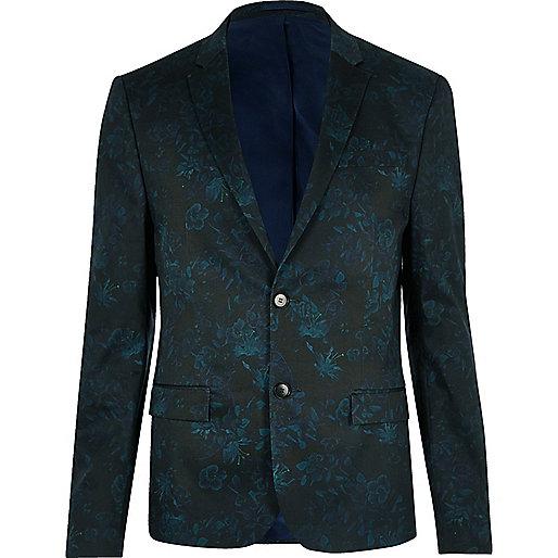Veste de costume courte imprimé fleuri verte