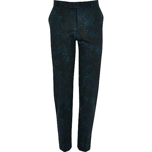 Green floral skinny cropped suit trousers