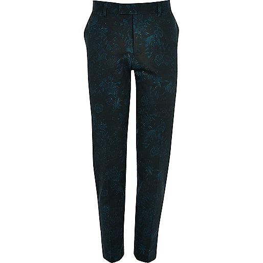 Pantalon de costume court motif floral vert coupe skinny