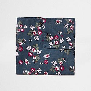 Marineblauwe pochet met vierkantjes met bloemenprint