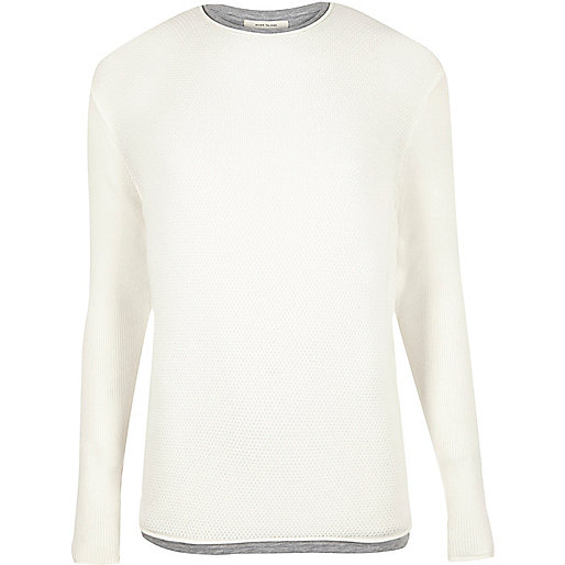 Ecru layered longline jumper
