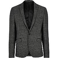 Grey houndstooth skinny fit blazer