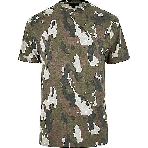 T-shirt camouflage kaki chiné