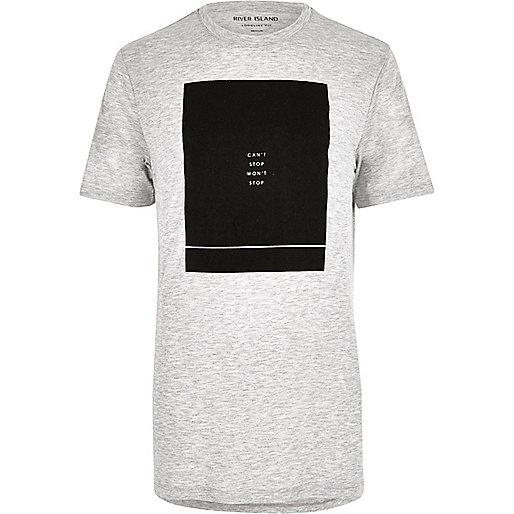 Grey marl print longline T-shirt