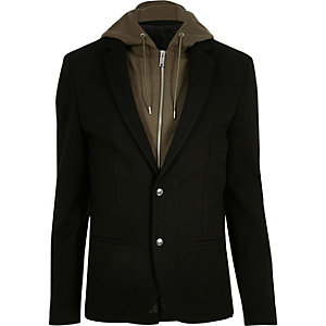 Black and khaki hooded blazer
