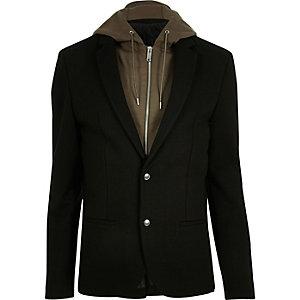 Blazer in Schwarz und Khaki mit Kapuze