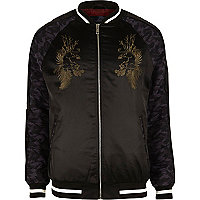 Black embroidered satin bomber jacket