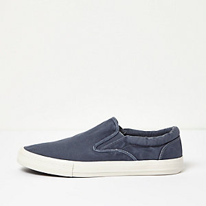 Navy washed canvas plimsolls