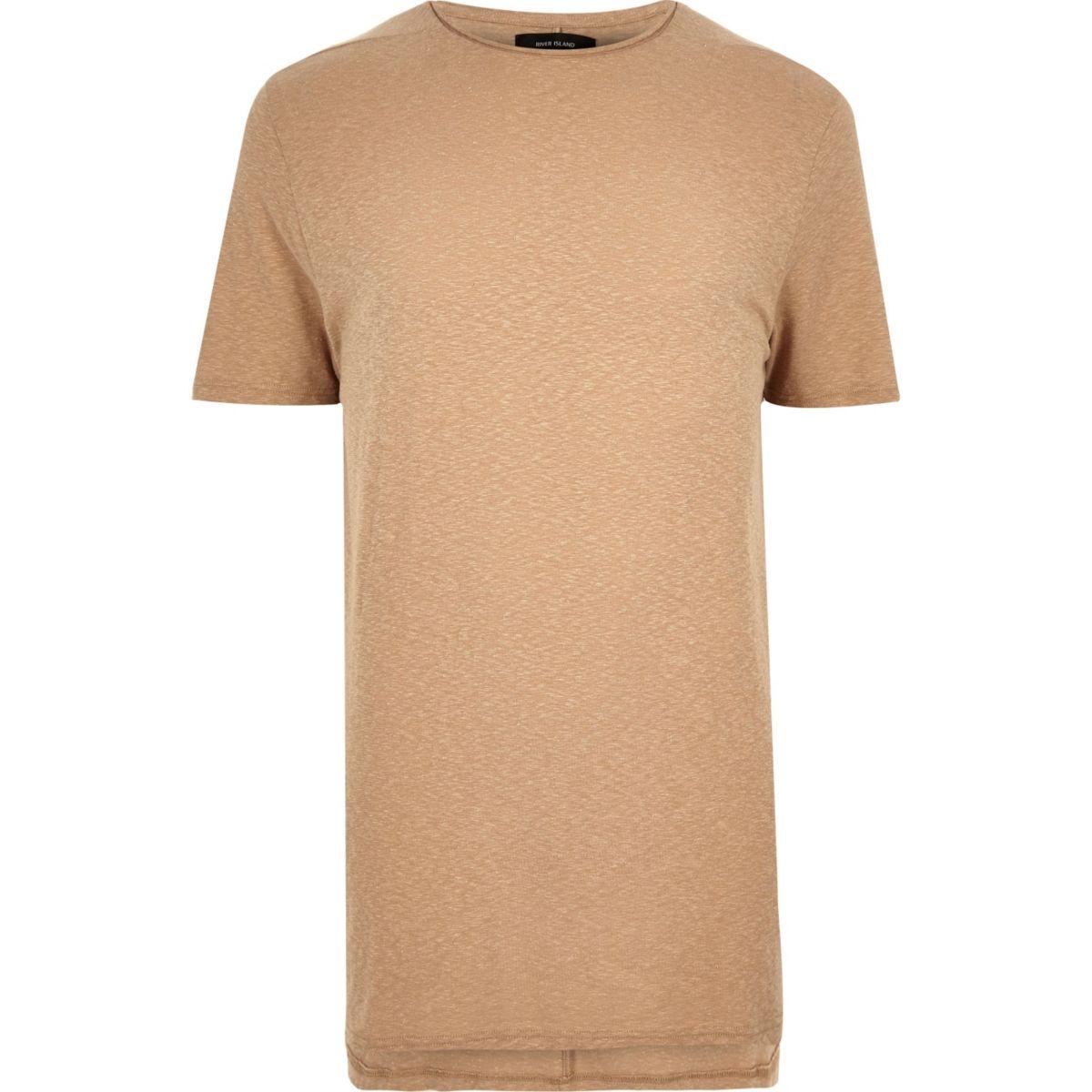 T-shirt ras du cou camel coupe longue
