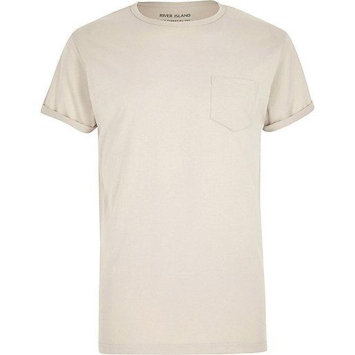 T-Shirt mit Tasche in Ecru