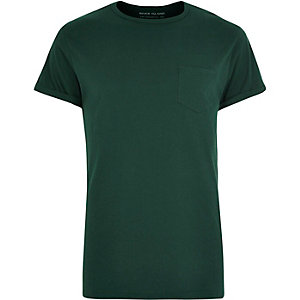 Dark green roll sleeve T-shirt