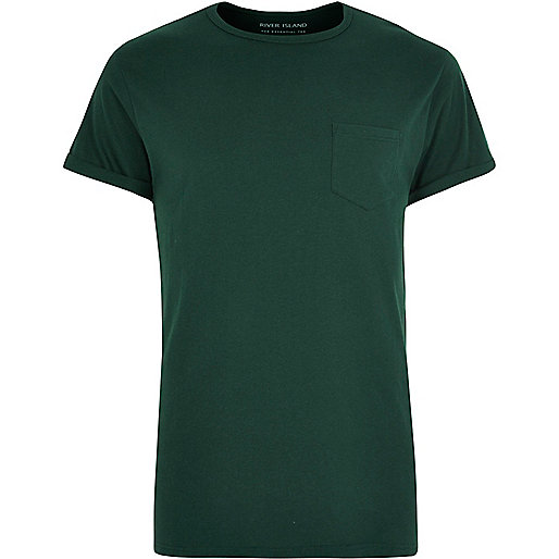 Dark green roll sleeve T-shirt