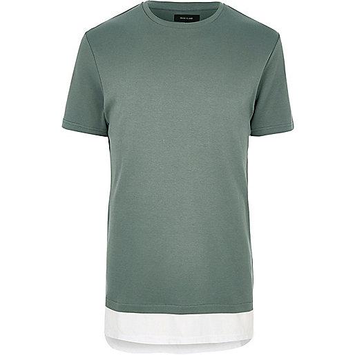 T-shirt long vert double épaisseur