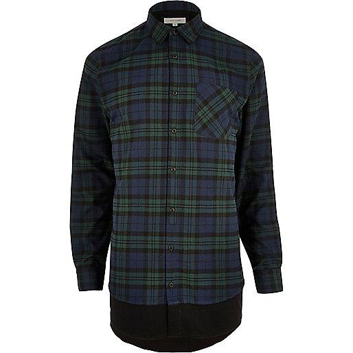Chemise longue à carreaux verte casual