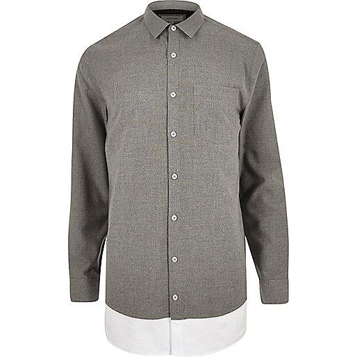 Chemise grise casual longue à double épaisseur