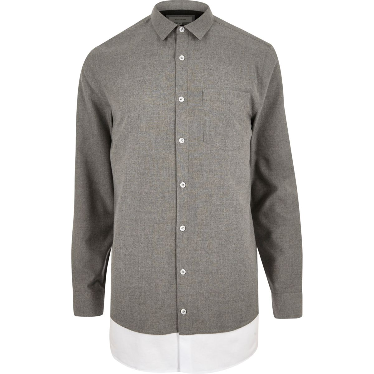 Grey casual layered longline shirt