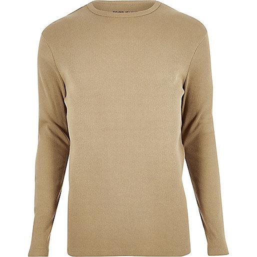 T-shirt marron côtelé à manches longues