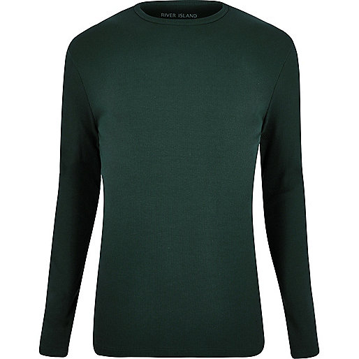 Dark green ribbed long sleeve T-shirt