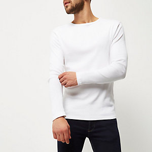 Wit geribbeld slim-fit T-shirt met lange mouwen