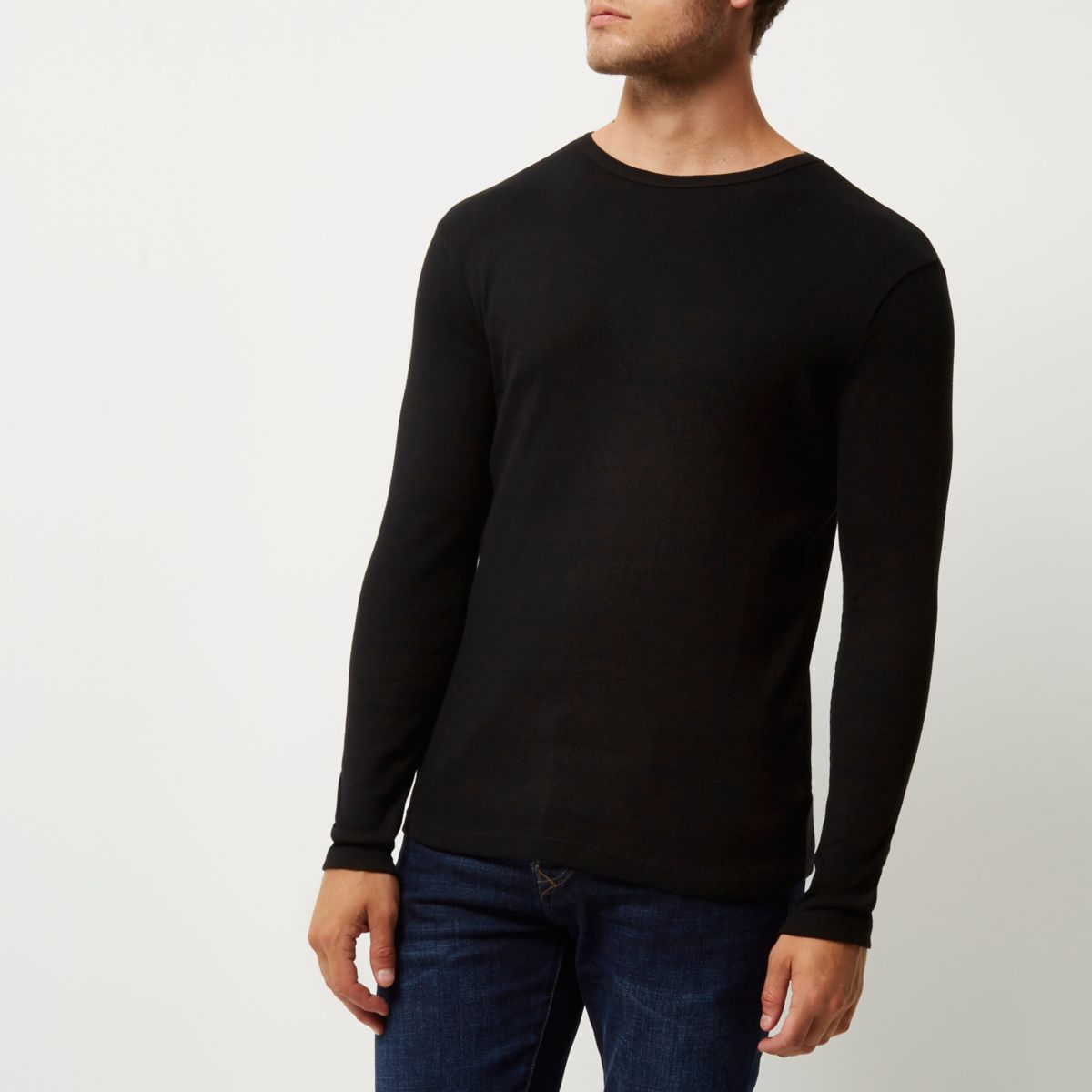 Black ribbed slim fit long sleeve t shirt long sleeve t for Long sleeve fitted tee shirt