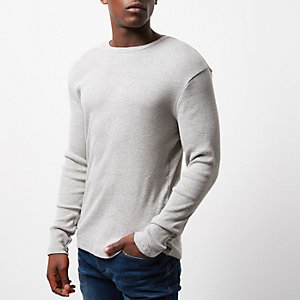 Dark grey ribbed slim fit long sleeve T-shirt