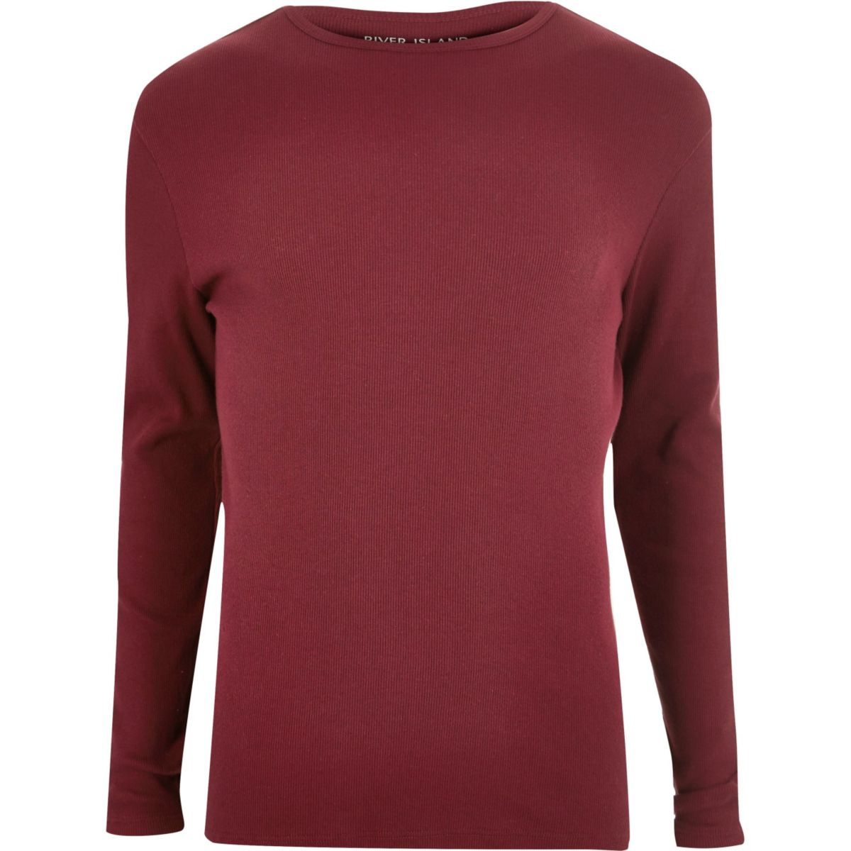 Red ribbed slim fit long sleeve T-shirt