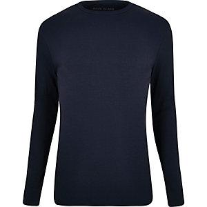 Navy ribbed slim fit long sleeve T-shirt