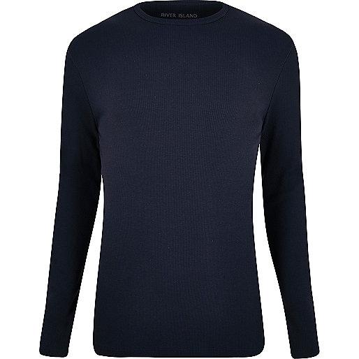 T-shirt côtelé bleu marine coupe slim à manches longues