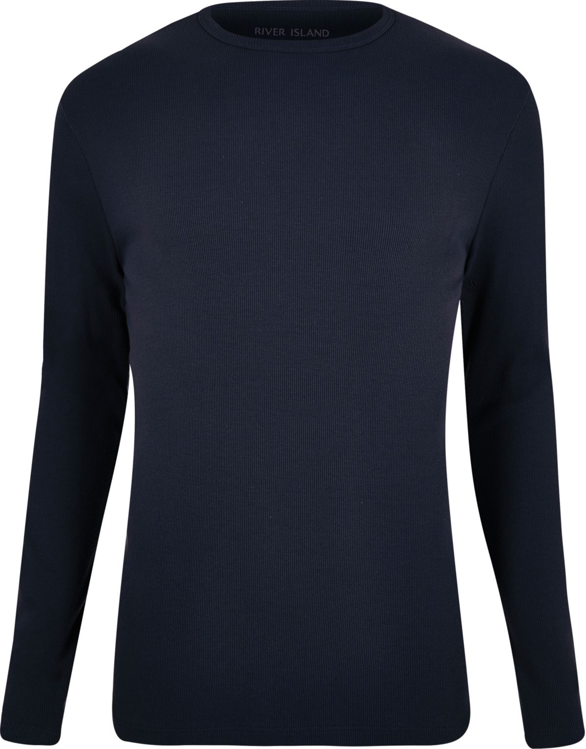 Navy ribbed slim fit long sleeve T-shirt