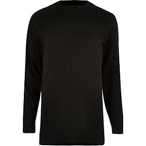 Black longline crew neck long sleeve T-shirt
