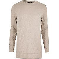Ecru longline long sleeve T-shirt
